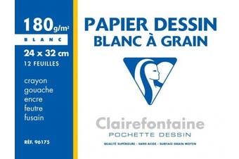 (24 x 32 cm, 180 g (12 Sheets)) - Clairefontaine Grained Drawing Paper, 180 g, 24 x 32 cm, 12 Sheets