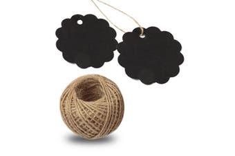 (Black) - 100 PCS Kraft Gift Tags 6 CM * 6 CM Blank Label Paper Wedding Labels Birthday Luggage Tags Brown Hang Tag with 30 Metres Jute Twine (Black)