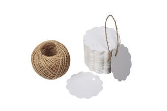 (White) - G2PLUS 100 PCS Kraft Gift Tags 6 CM * 6 CM Blank Label Paper Wedding Labels Birthday Luggage Tags Brown Hang Tag with 30 Metres Jute Twine (White)