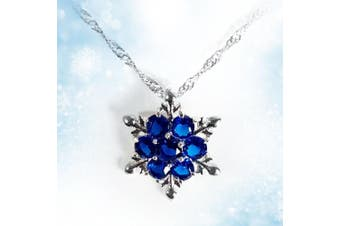 Girls Elsa Frozen Crystal Snowflake Sterling Silver Necklace Cobalt Blue Pendant For Gift