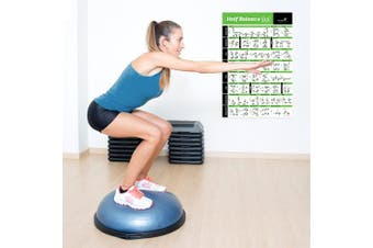 (50cm  x 80cm ) - NewMe Fitness Half Balance Ball Workout Poster - Laminated :: Illustrated Guide with 40 Toning and Strengthening Exercises :: Hang in Your Home or Gym, for Men & Women