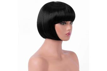 (1B#) - BESTUNG Short Straight Bob Hair Wigs with Flat Bangs for Women Black Synthetic Heat Resistant Cosplay Party Costume Hair Wig