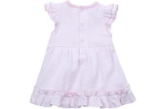 (Up To 1 Month, Pink Stripe) - BABY TOWN Babytown Baby Girls Pretty Cotton Jersey Bodysuit Dress