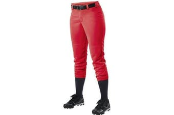 (Small, Scarlet) - Alleson Ahtletic Women's Fastpitch/Softball Belt Loop Pant