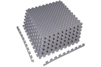 (One Inch Thick, 24 Square Feet, Gray) - BalanceFrom 2.5cm Extra Thick Puzzle Exercise Mat with EVA Foam Interlocking Tiles for MMA, Exercise, Gymnastics and Home Gym Protective Flooring