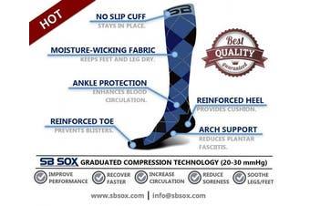 (Medium, Dress - Blue Argyle) - SB SOX Compression Socks (20-30mmHg) for Men & Women - Best Stockings for Running, Medical, Athletic, Edoema, Diabetic, Varicose Veins, Travel, Pregnancy, Shin Splints