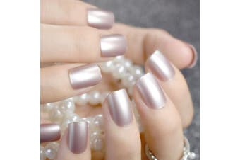 CoolNail Champagne Metallic Short False Nails Tips Pearl Frosted Feel Full Cover Artificial Fake Nail for Home Office