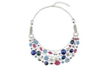 (Rose+blue) - BOCAR Newest Multilayer Chain Crystal Coloured Glaze Statement Women Necklace