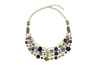 (Citronelle) - BOCAR Newest Multilayer Chain Crystal Coloured Glaze Statement Women Necklace