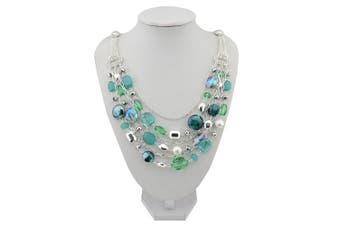(Aqua Sky) - BOCAR Newest Multilayer Chain Crystal Coloured Glaze Statement Women Necklace
