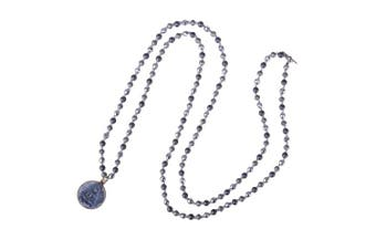 (H) - C.QUAN CHI Sakyamuni Pendant Necklace Yoga Long Chain Hematite Handmade Beaded Necklace for Women