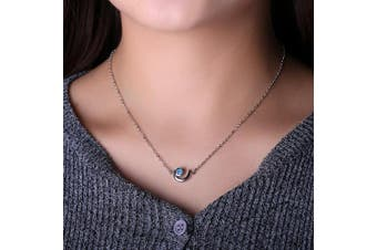 (Fire Blue) - C.QUAN CHI Moon Shape Choker Treated Opal Pendant Necklace 925 Sterling Silver Link Necklace