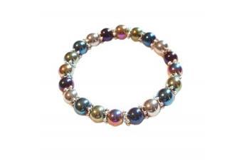 Colourful Multi Coloured Rainbow Hematite Stretch Bracelet