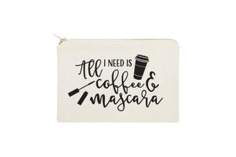 (All I Need is Coffee & Mascara) - The Cotton & Canvas Co. All I Need is Coffee & Mascara Cosmetic Bag and Travel Make Up Pouch