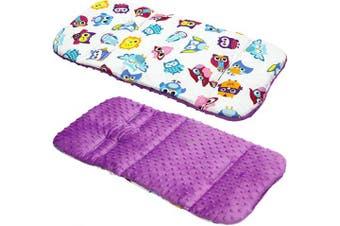 (white-purple OWL / purple) - Reversible Cotton & Minky Pram Insert, Liner Covers 5pt Universal (White-Purple OWL/Purple)