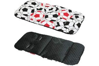 (FOOTBALL / black) - Reversible Cotton & Minky Pram Insert, Liner Covers 5pt Universal (Football/Black)