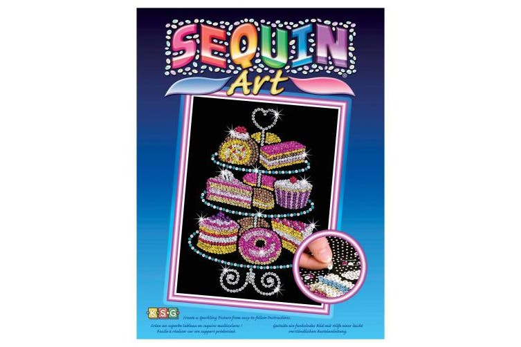 (Kuchen) - Sequin Art Blue, Cakestand and Cakes, Sparkling Arts and Crafts Picture Kit; Creative Crafts for Adults and Kids