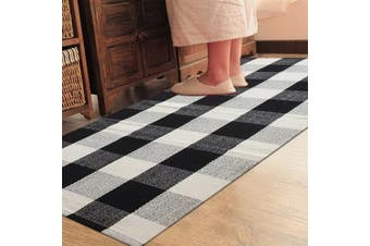 (90cm  x 150cm , Black and White Plaid Rug) - Ukeler 100% Cotton Rug Hand-woven Chequered Carpet Braided Kitchen Mat Black and White Floor Rugs Living Room Area Rug, 90cm x 150cm , Black and White Plaid Rug