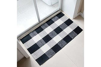 (60cm  x 90cm , Black and White Plaid Rug) - Ukeler 100% Cotton Plaid Rugs Black/White Hand-woven Chequered Door Mat Washable Rag Throw Rugs, 60cm x 90cm , Black and White Plaid Rug