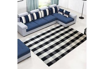 (120cm  x 180cm , Black and White Plaid Rug) - Ukeler 100% Cotton Rug Hand-woven Chequered Carpet Braided Kitchen Mat Black and White Floor Rugs Living Room Area Rug, 120cm x 180cm
