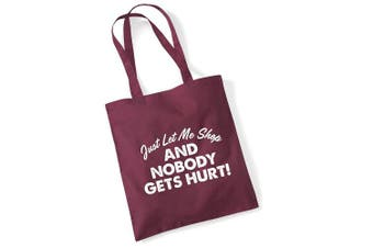 (Burg) - Tote Bags For Women Just let Me Shop Printed Cotton Shopper Bag Gifts