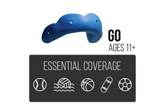 (Charcoal Black) - SISU GO Custom Fit Minimalist Sports Mouthguard for Youth/Adults