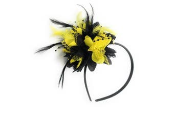 Caprilite Black and Yellow Fascinator on Headband for Ascot Weddings