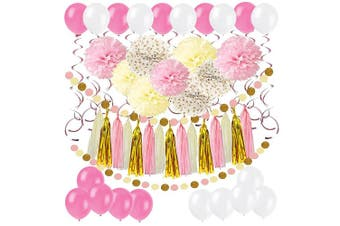 (Pink, Gold and Cream) - Cocodeko Diy Paper Pom Poms with Tissue Paper Tassel, Polka Dot Garland, Hanging Swirl Decorations and Balloon Kit for Birthday Wedding Showers Party Decorations - Pink