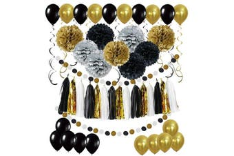 (Black, Gold and Silver) - Cocodeko Diy Paper Pom Poms with Tissue Paper Tassel, Polka Dot Garland, Hanging Swirl Decorations and Balloon Kit for Birthday Wedding Showers Party Decorations - Black
