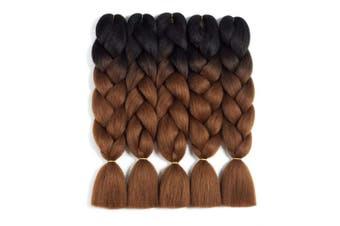 (5pcs, T1B/Dark Brown) - Ombre Braiding Hair Kanekalon 5pcs Jumbo Braiding Hair Extensions High Temperature 2 Tone T1B/Dark Brown Colour Synthetic Hair(5pcs, T1B/Dark Brown)