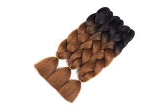 (3pcs, T1B/Dark Brown) - CCmargue Jumbo Braiding Hair 3pcs Ombre Braiding Hair Extensions High Temperature 2 Tone T1B/Dark Brown Colour Synthetic Hair(3pcs, T1B/Dark Brown)