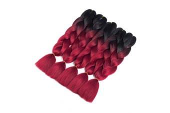 (5pcs, T1B/Burgundy) - Synthetic Braiding Hair 5pcs Ombre Braiding Hair Extensions High Temperature 2 Tone T1B/Burgundy Colour Jumbo Hair (5pcs, T1B/Burgundy)