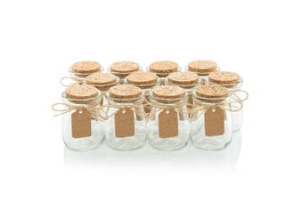Amajoy 16pcs Glass Favour Jar with Cork Lids,Escort Card and Twine Wedding Favour Party Favour Glass Bottles Honey Pot Bottles