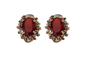 (Ruby Color Antique-Gold-Tone) - Clearine Women's Victorian Style Crystal Floral Cameo Inspired Oval Stud Earrings