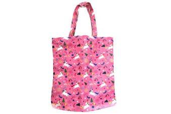 Adeley Cute Pink Medium Unicorn Rainbow Reusable Waterproof Shoulder Handbag Tote Bag for Women Kids