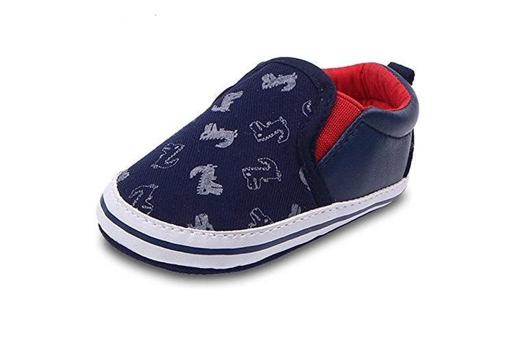 (12-16 Months, Deep Blue) - Lidiano Baby Boy Girls Toddler Canvas Soft Rubber Non Slip Sole Sneakers Crib Shoes Infant/Toddler (12-16 Months, Deep Blue)
