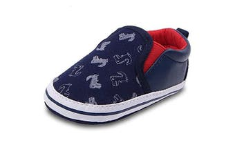 (0-6 Months, Deep Blue) - Lidiano Baby Boy Girls Toddler Canvas Soft Rubber Non Slip Sole Sneakers Crib Shoes Infant/Toddler (0-6 Months, Deep Blue)