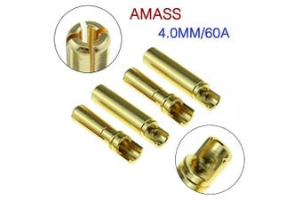 (4.00mm) - Amass 4.0mm Thick Gold Bullet Connector Banana Plug Gold Plated for ESC Battery (20Pairs)