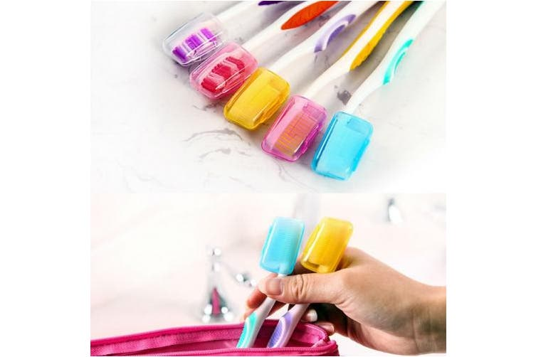 AKOAK 10pcs Random Colour Toothbrush Head Cover Case Cap Brush Cleaner Protect for Home Daily Travel Outdoor Camping Sport Running Hiking