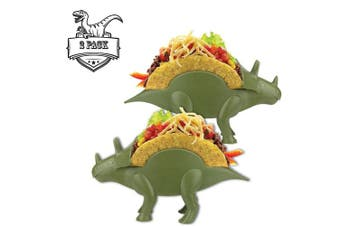 (2, TriceraTACO Taco Holder) - TriceraTACO Taco Holders, Set of 2 - Dinosaur Novelty Taco Stand Party Plates Serveware - Holds 2 Tacos Each!