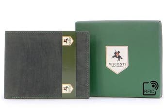 (Oil Green - RFID) - Visconti Wallet - 707 Shield - Hunter Leather