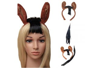 All Accessories Horse Headband Tail Set Fancy Dress Party Animals Pony Unisex Adults Kids