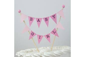 amazing buntings Baby Girl, Cake Topper, Pink Pastel Bunting, Fully Assembled, 191