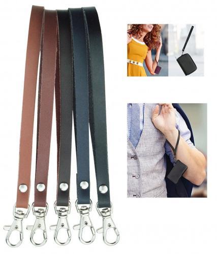 MYIW 2 Pieces Genuine Leather Wrist Strap for Wallet Clutch Wristlet Purse Keys