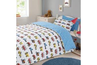(Single) - Dreamscene Transport Duvet Cover with Pillow Case Boys Kids Workforce Car Truck Bedding Set - Blue, Single