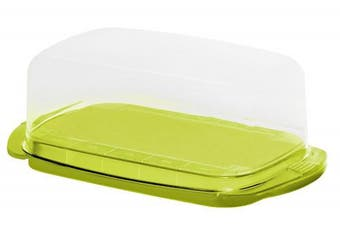 Rotho 1709705070 Butter Dish, Plastic Lime Green/Green (18 x 9.5 x 7 cm Transparent