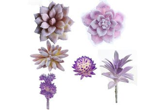 6 Pcs Artificial Succulents Assorted Faux Succulent in Different Purple Fake Hanging Succulents Textured Faux Succulent for Plants Wall Decoration DIY Materials Wedding Centrepieces