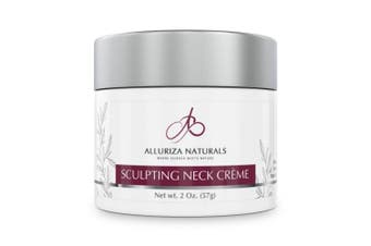 Sculpting Neck Crème by Alluriza Naturals, Anti-Ageing Cream for Firming, Tightening Skin, Helps Double Chin, Crepe, Sagging, Natural Moisturiser with Apple Stem Cells, Matrixyl, Green Tea Extract 60ml