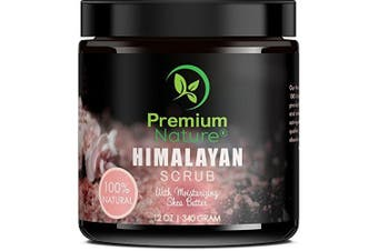 Himalayan Salt Body Scrub with Moisturising Shea Butter – 100% Natural - Deep Cleansing Exfoliator - Moisturises, Nourishes Soothes and Promotes Glowing – 350ml