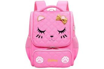 (Large, Pink-L) - Adanina Cute Cartoon Cat Face Girls School Backpack Bowknot Primary Schoolbag Bookbag